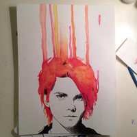 Gerard Way red and yellow watercolor painting- PRINT