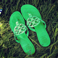 Tory Burch Sandals Tide Fashion Women Green Shining Slippers