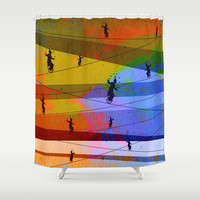 Tightrope Shower Curtain by Tony Vazquez