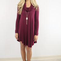 Crown Heights Burgundy Cowl Neck Long Sleeve Curved Hem Dress