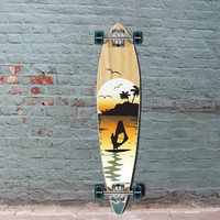 "Punked Surfer Pintail Longboard 40"" Natural"