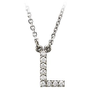 1/10 Cttw G-H, I1 Diamond initial Necklace in 14k White Gold, Letter L