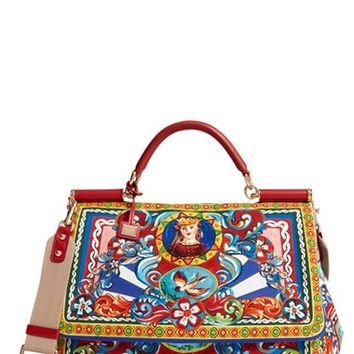 Dolce&Gabbana 'Large Miss Sicily' Carretto Print Top Handle Canvas Satchel | Nordstrom