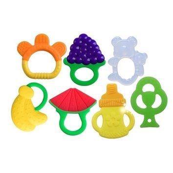 Baby Teething Toys Soft Silicone Fruit Teethers For Babies Fridge Dishwasher Safe BPA-Free For Boys Girls Chews Ring Teether New