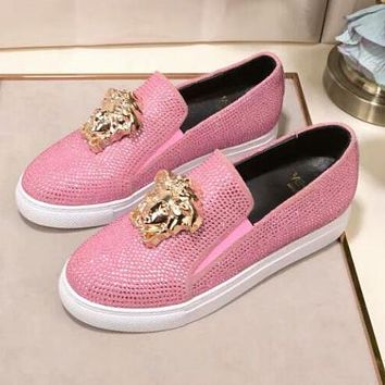 """Hot Sale """"Versace"""" Slip-On Popular Women Men Casual Leather Water Drill Flat Sneakers Sport Shoes Pink I13143-1"""