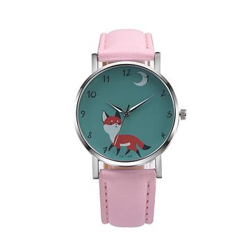 Watch Women 2016 Fashion Brand Luxury Retro Cartoon Cute Fox Animial New Design PU Leather Analog Alloy Quartz WristWatch reloj