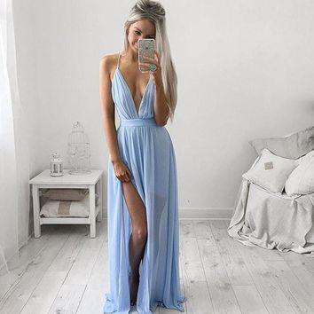 Don's Bridal Sexy Sky Blue Chiffon Long Prom Dresses 2016 Pleats Slit Back Cross Floor Length Evening Dress
