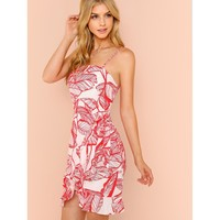 Tropical Print Wrap Dress