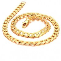 Father's Day Gift 7mm Width Cool Yellow 18k Gold Plated Chain Men's Necklace 19.7""