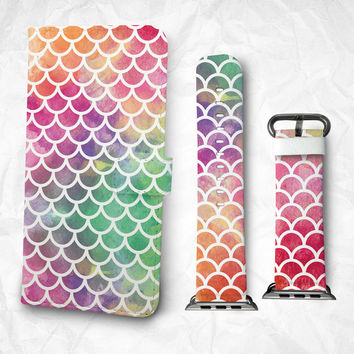Gift Set iPhone case Apple Watch Band 38mm 48mm Colourful fish fins pattern iPhone 6S case iPhone 6S Plus iPhone 5S case iPhone 4S case