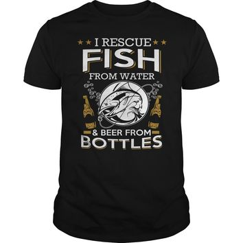 I rescue fish from water and beer from bottles shirt Premium Fitted Guys Tee