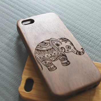 Walnut wood iphone 5 case iphone 5s case cheerful elephant iphone 5 case