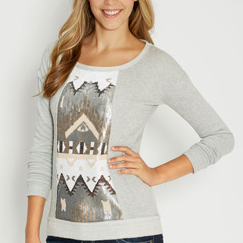 french terry pullover with sequin front