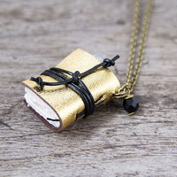 Miniature book necklace, mini journal jewelry, book jewelry, book pendant, steampunk journal necklace eco friendly, blank book - gold golden
