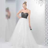 COLORS 1396 White Black Ball Gown Prom Dress
