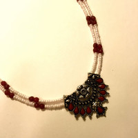 Aztec Necklace, Red and White Beads, Silver and Red Pendant