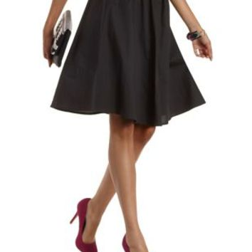 black knee length a line skirt by from russe