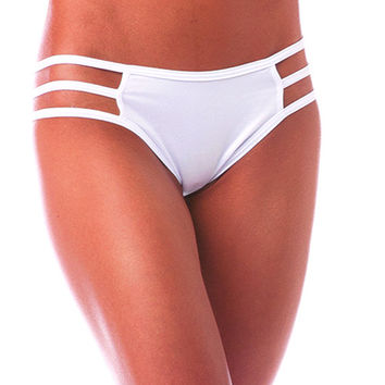 Pole Dancers White Stripe Side Scrunch Bottom