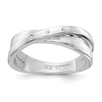 3 Stone .03 Ctw Diamond Crossover Rhodium Plated Sterling Silver Ring