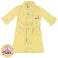 Sweet n Sassy Yellow Peace Sign Plush Bath Robe for Girls $17.99