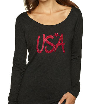 Women's Shirt USA Red Glitter Love America 4th Of July Shirt