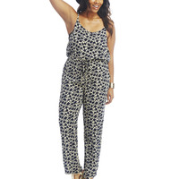 Flower Silhouette Print Tank Jumpsuit | Wet Seal+