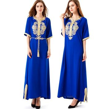 Muslim Women long sleeve long dress islamic clothing Dubai kaftan caftan moroccan maxi / long Abaya turkish ethnic dress 1606