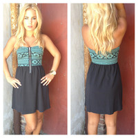 Mint Aztec Bodice Strapless Dress