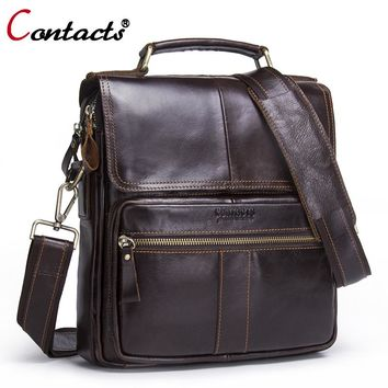 CONTACT'S Genuine leather handbags messenger bag men leather Shoulder bag Tablets crossbody bags designer Men Briefcase male bag