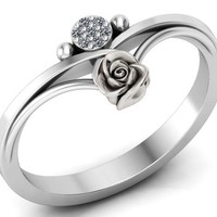 Birthday Gift Unique Flower and Sun Engagement Ring White Gold Flower Ring Promise Ring Floral ring Birthday Gift For Her