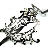 Black Metal Masquerade mask- Luxury Venetian Filigree Laser Cut Half Face Phantom Mask for Women