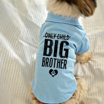 Small Dog Polo Shirt. Only Child Big Brother Polo Dog Shirt. Pet Clothes. New Baby Gift Idea.