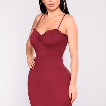 Endless Summer Smocked Dress - Burgundy