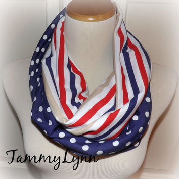 Red White Blue Stripe Scarf Mix Navy Blue with White Polka Dots USA Spring Infinity Scarf Women's Accessories