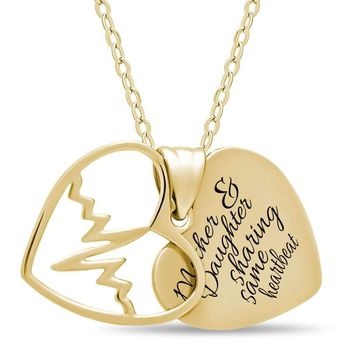 Mother Daughter Heart Necklace, 925 Silver, 14K Gold Plated Two Heart Necklace