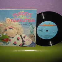 Rare Vinyl Album The Muppets Take Manhattan Book and Record LP 1984 Jim Henson Classic