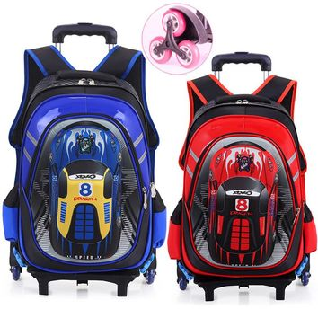 Hot Waterproof Boys Trolley School Bag Classic Travel Luggage Suitcase On Wheels Kids Rolling Backpack Girl Book Bags Detachable