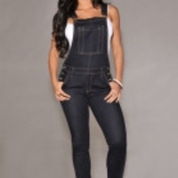 Black Denim Fitted Overall