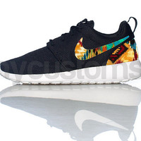 Free Shipping -- Nike Roshe Run Black White Tribal Ikat Print Custom Womens