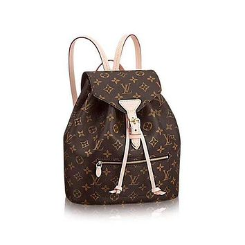 LV Louis Vuitton Trending Women Casual Stylish Monogram School Bag Cowhide Leather Backpack Coffee I-MYJSY-BB