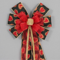 Red Sparkle Black Gold Heart Bling Valentines Day Bow