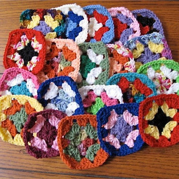 20 Hand Crocheted Granny Squares - Rainbow Color Variety