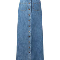 Blue Denim Button-down Maxi Skirt