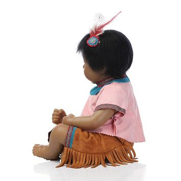 """NPKCOLLECTION 19"""" Native American Indian Reborn Baby Doll with Clothes,47 CM Silicone Reborn Dolls"""