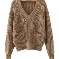 V-Neck Chunky Knitted Sweater