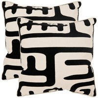 Maize 22-inch Ivory/ Black Decorative Pillows (Set of 2)