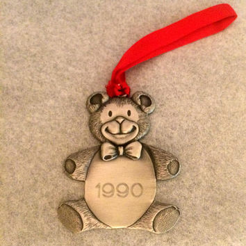 Pewter Keepsake Teddy Bear  Ornament - Dated 1990 - Red Ribbon Hanger - Vintage Holiday Decor - Christmas Decoration - Christmastime