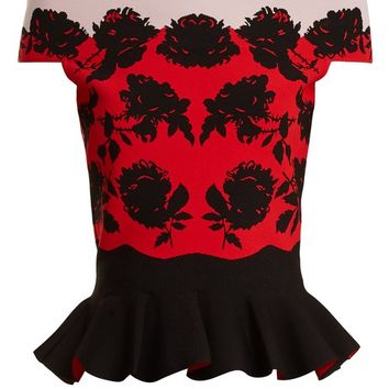 Rose-intarsia off-the-shoulder peplum top | Alexander McQueen | MATCHESFASHION.COM US