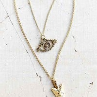 Talisman Charms Layered Necklace- Gold One
