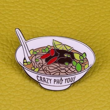 """Ramen enamel pin """"crazy pho you"""" Vietnam food brooch funny pun art badge crazy for you funny foodie jewelry noodles lovers gift"""